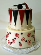 Black and Red Grad Cake