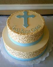 Cream Scroll with Blue Bands and Cross