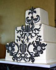 Black Damask 3 tier square