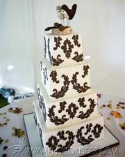 Four Tier Square Damask Cake