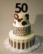 Three tier 50th Birthday Cake - Buttercream Finish - Decorations in Chocolate