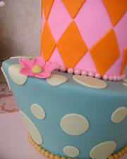 Two Tiered Skewed Whimsical with bow