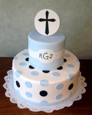 Blue and Black Christening Cake